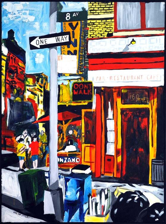 8th Avenue, 1998, Acrylic on canvas, 102 x 77cm (40.16 x 30.31 inch), Private collection. All images are used with the permission by the artist. Re-Pinning is permitted, however, please do not distribute, reproduce, reuse in any shape or form without first contacting the artist. marwan@art-factory.us © Marwan Chamaa.