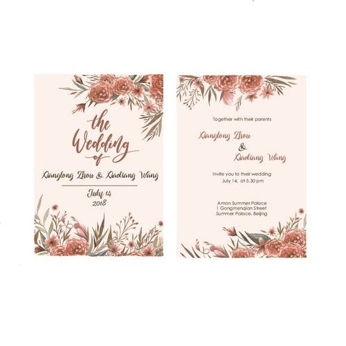 Single Page Wedding Invitation With Red Flower Theme Card Or Invitation Contest Design Card Invitation Wedding Invitations Invitations Wedding Invitation Cards