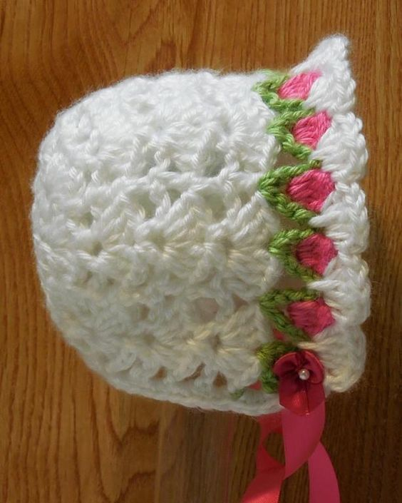 Crochet Baby Bonnet Pattern : Tulip Baby Bonnet Crocheting, Patterns and Crochet