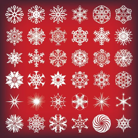 Free Vector illustration of beautiful 36 beautiful starflake retro design elements on red background