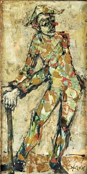 Paul Aizpiri b.1919 (French)  Harlequin oil on canvas 96 x 47cm (37 x 18in)