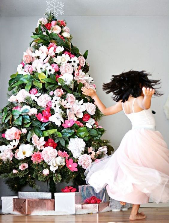 Bright Living Floral Christmas Tree Christmas Tree Flowers Best Christmas Tree Decorations