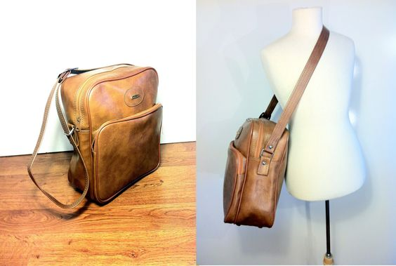 "70s Chestnut Cross Body Travel Carry On Bag - Retro Vegan Leather Weekender. $44.50, 14""x12""x5"", via Etsy."