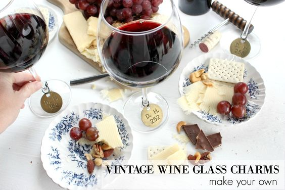 Brass Number Tag Wine Glass Charms. DIY wine glass charms using vintage number tags!