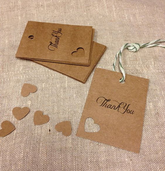 12 Rustic Tags Thank You Wedding TagsGift by silverboutiquecrafts