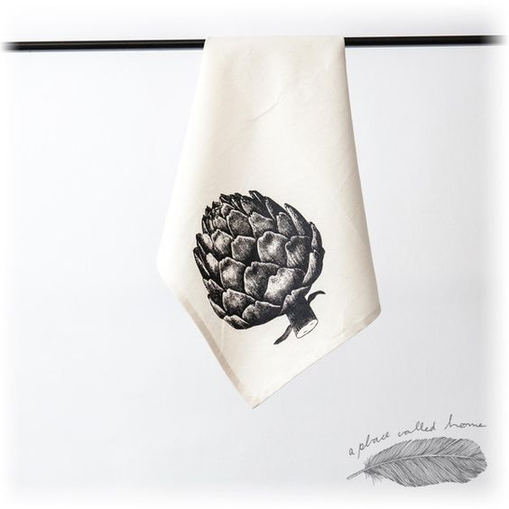 """Geschirrtuch """"Artischocke"""" Siebdruck Geschenk  von A Place Called Home auf DaWanda.com"""