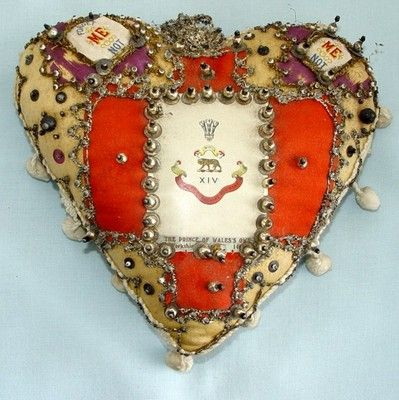 Prince of Wales regiment sweetheart pincushion, seen on ebay