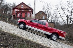 20160302radCantonAveLocal02-1 A pickup truck takes on Canton Ave. in Pittsburgh's Beechview neighborhood Wednesday. It is street the steepest in the United States.