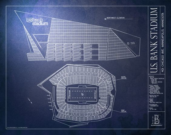 Us Bank Stadium Minnesota Vikings Murals Your Way Large Framed Prints Stadium