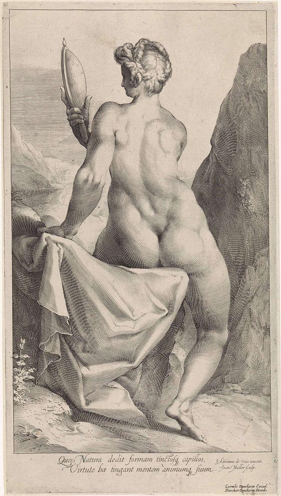 Jan Harmensz. Muller | Voorzichtigheid, Jan Harmensz. Muller, Dancker Danckerts, Cornelis Danckerts (I), 1654 - 1666 | Prudentia (voorzichtigheid) als naakte vrouw, zittend, op de rug gezien, kijkend in een spiegel.