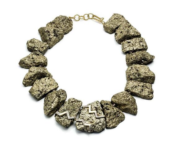 Kara Ross Petra necklace featuring pyrite in gold.