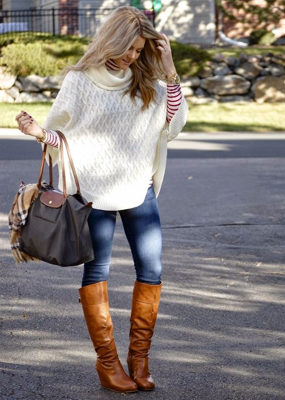 Poncho Sweater from H & M, Old Navy striped turtleneck, skinny jeans, and boots