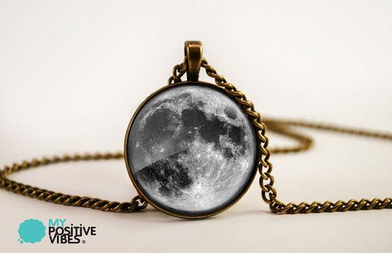 Pendentif pleine lune - Bronze de carreaux de verre