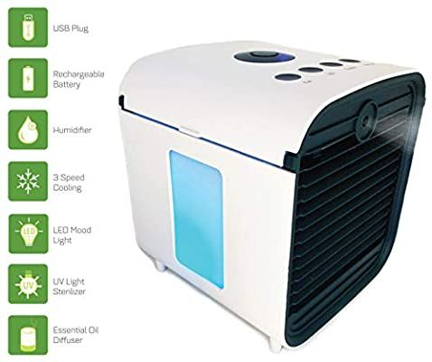 Amazon Com Spantron Portable Air Conditioner Fan Best 5 In 1 Personal Home Office Desk Swamp Cooler M In 2020 Portable Air Conditioner Swamp Cooler Mist Diffuser
