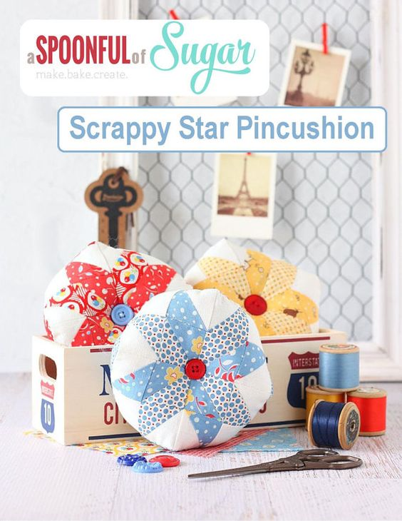 Scrappy Star Pincushion PDF Sewing Pattern by aspoonfullofsugar