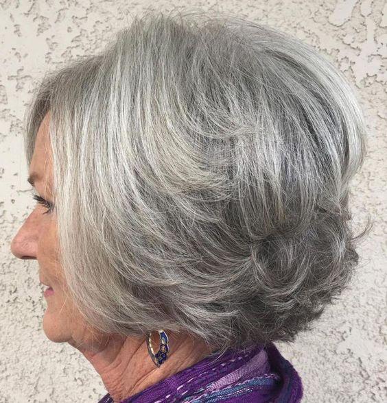 Salt and Pepper Layered Bob Haircut