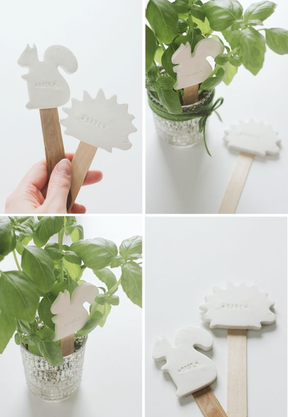 Clay plant labels - using cookie cutters