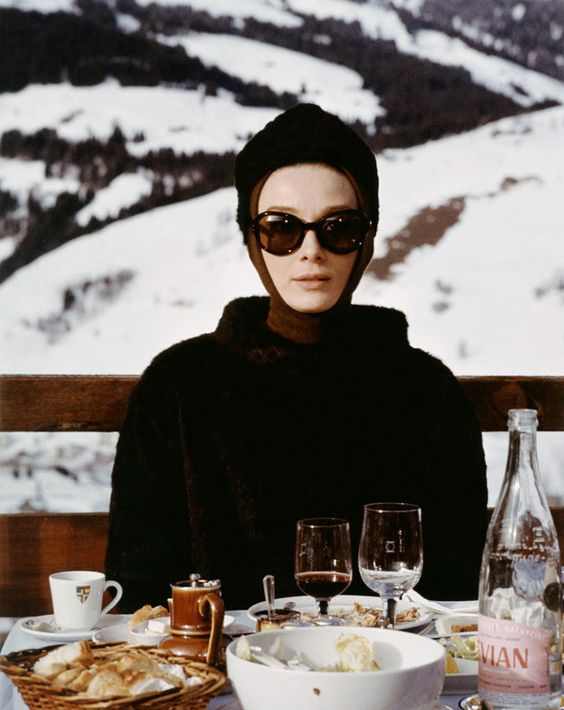 "Everyone should dress like this at a chic French ski resort! Audrey Hepburn in Givenchy for ""Charade.""--CH:"