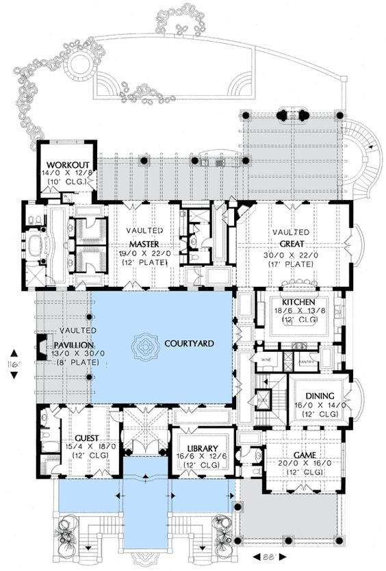 Courtyards floors and floor plans on pinterest for Mediterranean floor plans with courtyard