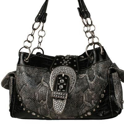 Black Snakeskin Metallic Bag