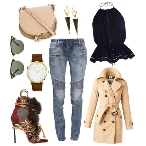 A fashion look from September 2015 featuring Zimmermann tops, Burberry coats and Balmain jeans. Browse and shop related looks.