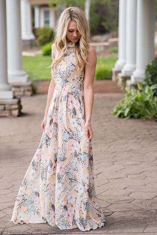 Oasis Tropical Floral Print Halter Dip Back Maxi Dress (Peach) - NanaMacs.com - 1: