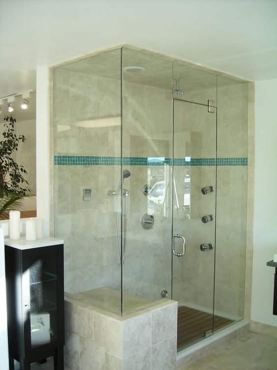 Love this all glass shower with bench for the home for All glass shower