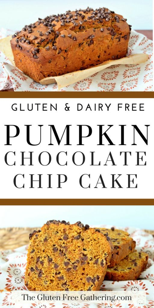 Gluten Free Pumpkin Chocolate Chip Loaf Cake (dairy free) – The Gluten Free Gathering - A fall classic. This pumpkin loaf is filled with spices and chocolate. #GlutenFree #DairyFree #fallbaking #quickbread #pumpkinloaf #pumpkincake #pumpkinandchocolate #glutenfreedessert #glutenfreerecipes #glutenfreebaking #dairyfreerecipes #allergyfriendly #pumpkin