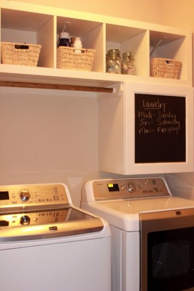 minimakeover- this storage area is perfect for our top load washer. IKEA hack shelf: