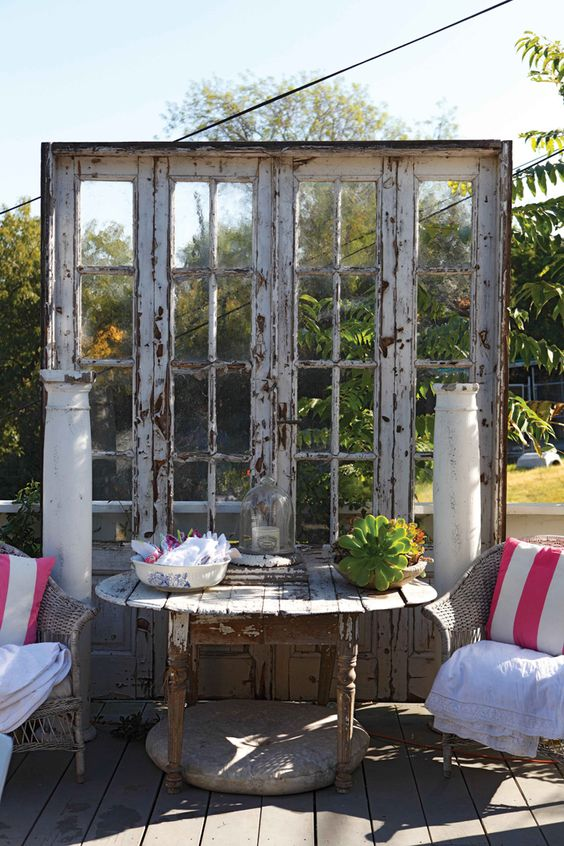 Old windows & other architectural details on a deck or patio area = A really neat idea! Description from pinterest.com. I searched for this on bing.com/images: