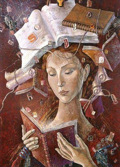 Девушек образование портит O cão que comeu o livro...: As leitoras de Daniela Zekina e uma citação / Women reading by Daniela Zekina and a quote: