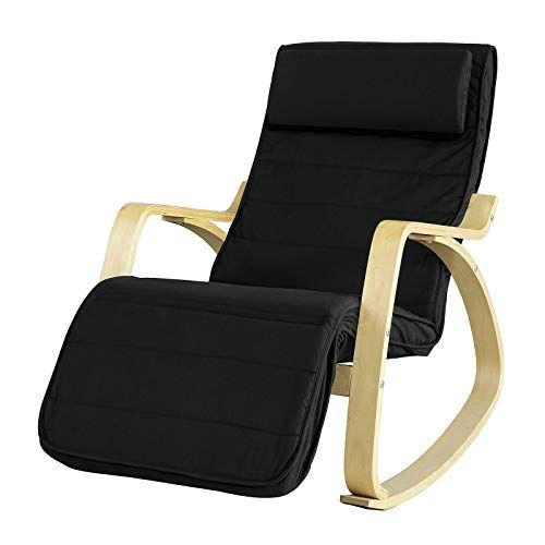 SoBuy FST16 Sch Rocking Chair Fauteuil à bascule avec repose