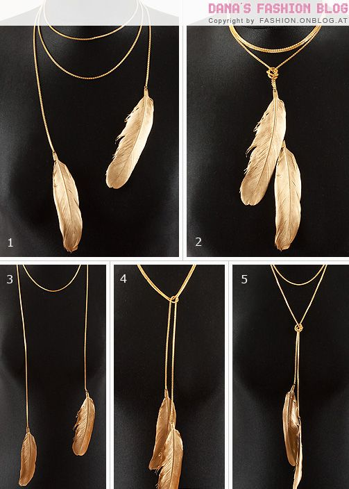 DIY Feather necklace. Love this because you can wear it so many different ways.: