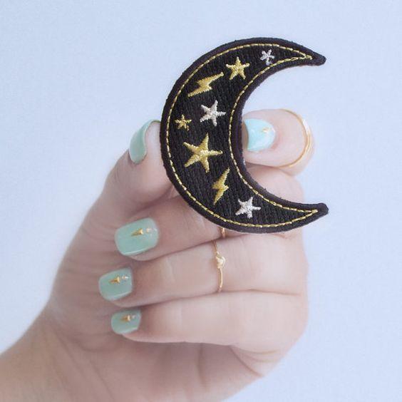 Patch de lune, Iron, croissant de lune, étoile, éclair, brodé, Applique, noir, or, argent, fleurs sauvages + Co. bricolage