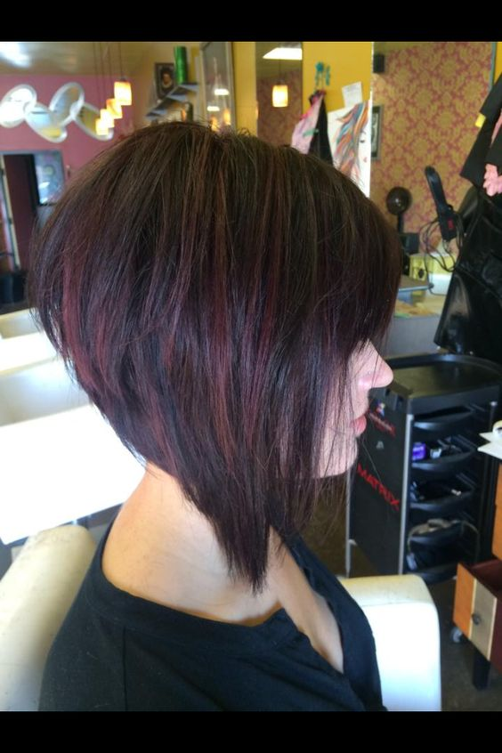 Graduated bob with red violet highlights!