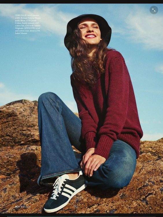 Iana Godina by Ben Weller - Harper's Bazaar UK October 2014. Tags: bare, barefoot style,  bootcut, cap, cardigan, footwear, hat, girl,  female , flared jeans, jumper, no socks, pullover, running shoe, sexy, sockless feet, sneakers, sport, sweater, without socks, без носков, босиком, голый, джинсы - клёш, кроссовки, на босу ногу, на голую ногу