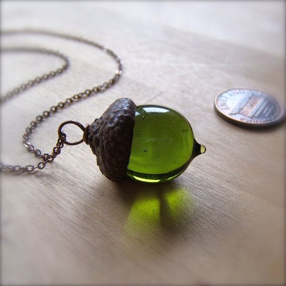 Glass Acorn Necklace in Transparent Olivine