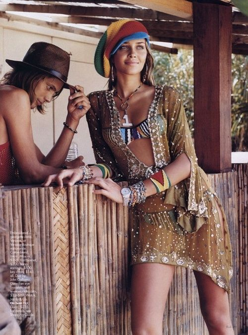 Cool ethnic tribal inspired boho chic cover up, modern hippie headband, gypsy style layered necklaces. FOLLOW http://www.pinterest.com/happygolicky/the-best-boho-chic-fashion-bohemian-jewelry-gypsy-/ for the BEST Bohemian fashion trends in clothing & jewelry.: