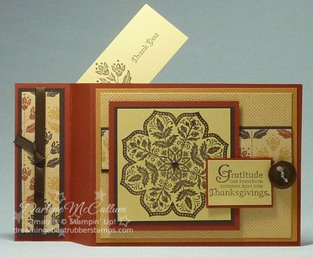 Stampin Up Days of Gratitude Wiper Card...like this card in warm colors with a fun and easy fold/movement...tutorial on the site...