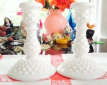 Vintage Candle Holders Milk Glass Candle Holders Hobnail Candle Stick Holders Vintage White Candle Stick Holders Fenton Milk Glass Candle