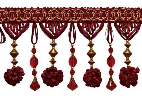 Gold and Red Quality Decorative Tassel by the yard