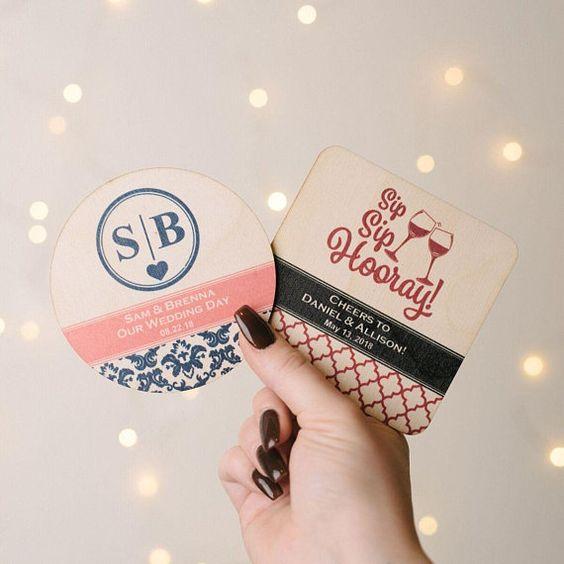 Printed Wooden Wedding Coasters
