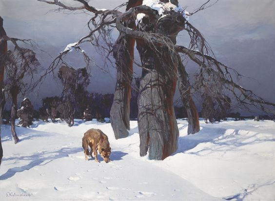 "Stepan Fedorovich Kolesnikov ""Wolf in a Winter Landscape"" oil on canvas"