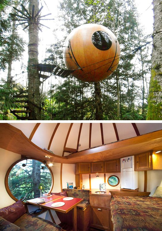 Free Spirit Spheres. Situated among the tall trees in the rainforest of Vancouver, Canada, these handmade tree house spheres are suspended in the air with winding ropes.: