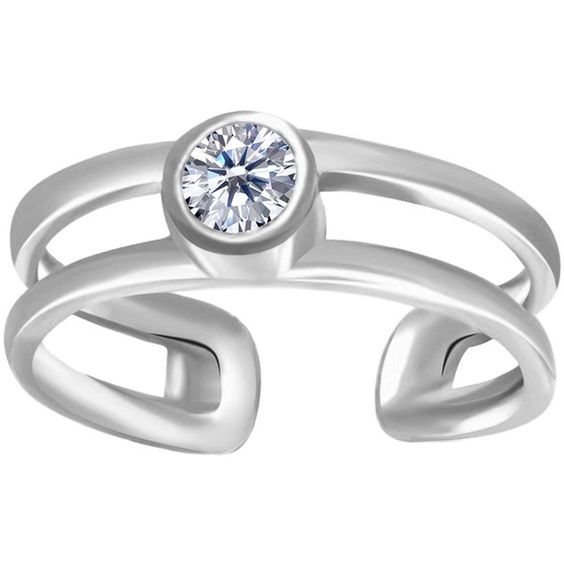 14k White Gold Cz Bezel Set Double Bar Cuff Style Adjustable Toe Ring ($135) ❤ liked on Polyvore featuring jewelry, rings, 14k ring, 14 karat white gold ring, white gold cubic zirconia rings, 14k cubic zirconia rings and 14k toe rings