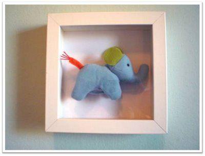 Cheap Nursery Art: 49 cent stuffed animal and $6 @IKEA USA shadow box. Simple, but darling! #nursery #walldecor