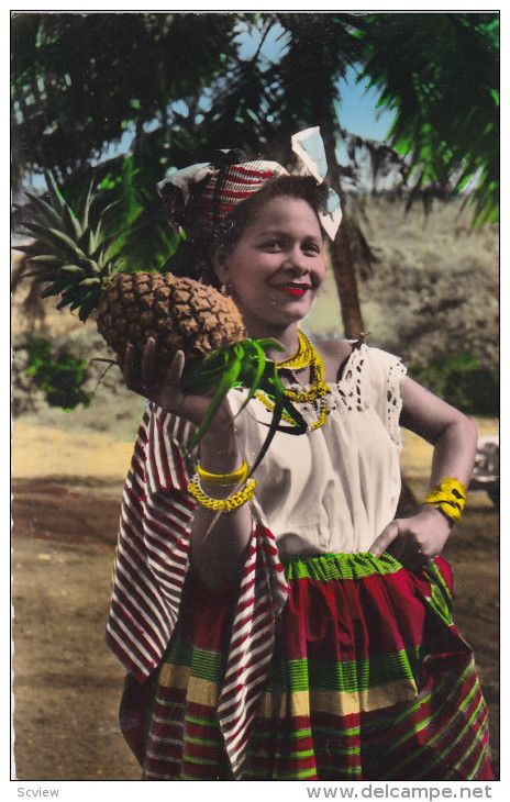 "RP, Woman Holding A Pineapple, ""Belle"" In Local Costume, MARTINIQUE, 1920-1940"