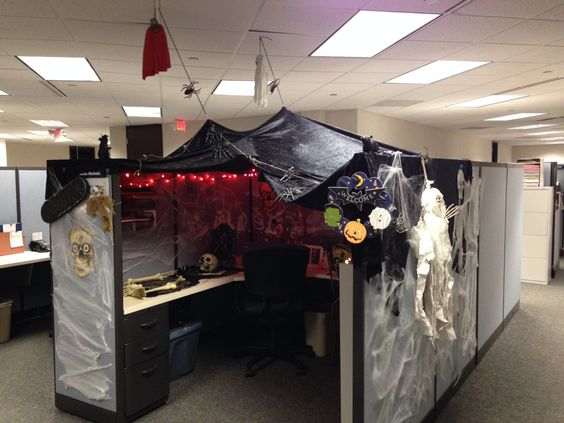 Wonderful Cubicle Cave  Halloween  Office Cube Decorations  Pinterest  Caves