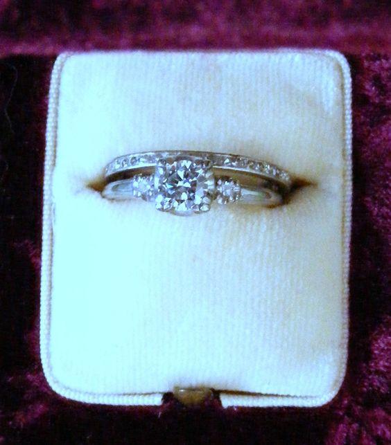 1950 Art Deco style wedding ring set. $1,650.00, via Etsy.