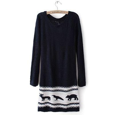 Blue Animal Pattern Long Sleeve Sweater Dress